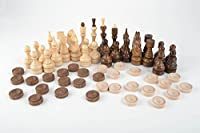 Handmade wooden table game chess and checkers