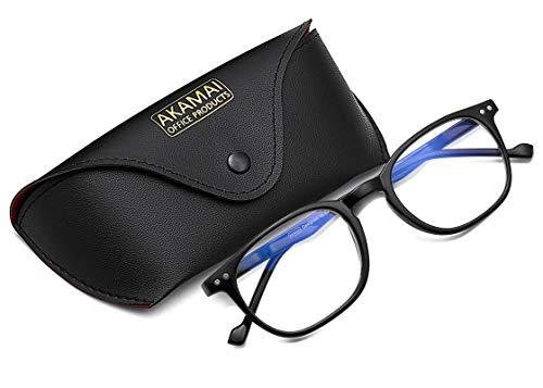 Akamai Blue Light Blocking Glasses - Mens & Womens Computer Screen Bluelight Protection - Anti UV Glare - Buxton Model (+2.5, Black)