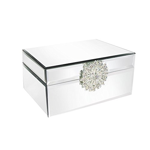 Mirror Jewelry Box with Brooch-Silver