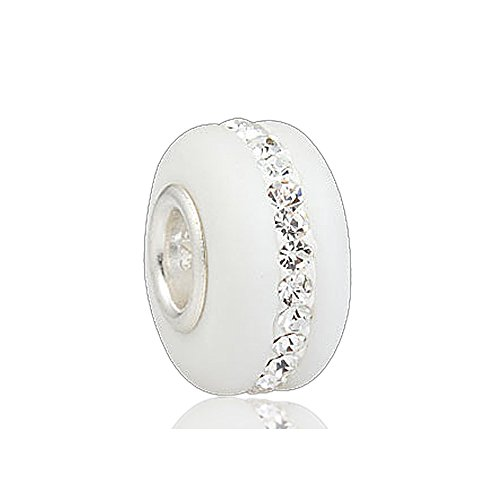 Everbling Kera Style White Murano Frosted Glass Bead Stripe June 925 Sterling Silver Solid Core Charm Fits Pandora Charm Bracelet