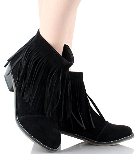 Fourever Funky Fringe Round Toe Cowgirl Vegan Suede Ankle Women's Boots Black