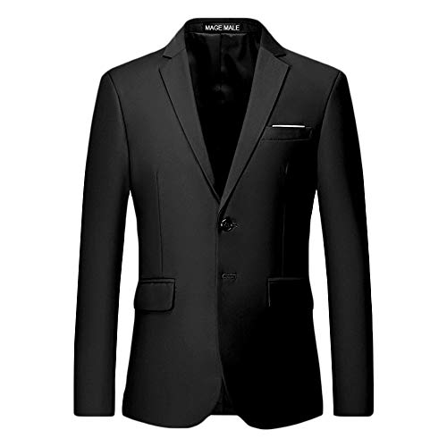 MAGE MALE Men's Slim Fit Blazer Casual Two Button Flap Pockets Business Solid Sport Suits Jacket Black