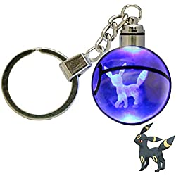 LED Keychain 3D Crystal Ball Laser Engraving Party Favor Christmas Children's Gift (Umbreon)