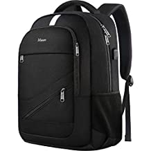 College Backpack, Travel Laptop Backpack Anti Theft Business Computer Bag with USB Charging Port, Durable High School BookBag for Men and Women, Slim Lightweight Daypack Fits 15.6 inch Notebook- Black