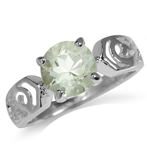 Green Amethyst Solitaire Ring (1.63ct. Natural Green Amethyst 925 Sterling Silver Filigree Solitaire Ring Size 6)