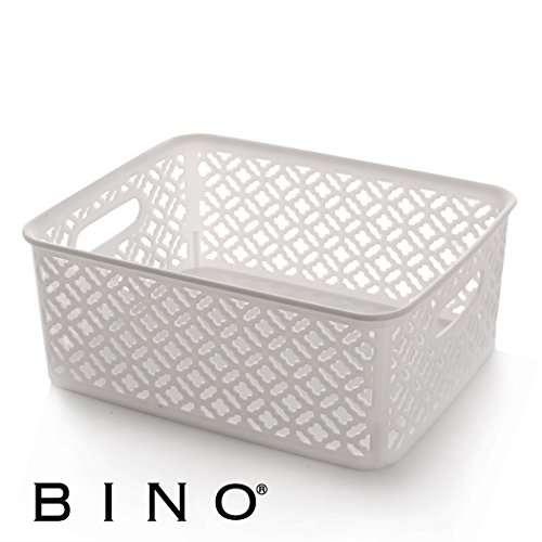 BINO Woven Plastic Storage Basket, Medium (White)