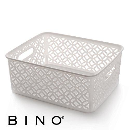 BINO Woven Plastic Storage Basket, Medium (White)
