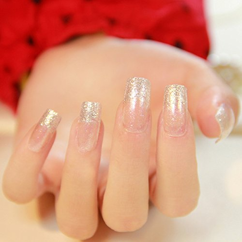 Fake Nail Tips - 24 Pieces French Silver Slitter Square False Nails Long Full Artificial Nails Art ()