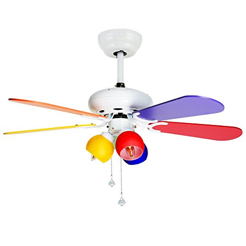 Tropicalfan Kids Ceiling Fan with 3 Light Colorful Lampshade Childrens room Study Bedroom 5 Wood Blades 42 Inch by Tropical Fan