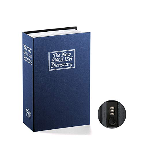 Book Safe with Combination Lock - Jssmst Home Dictionary Diversion Metal Safe Lock Box, SM-BS0405S, Navy Small