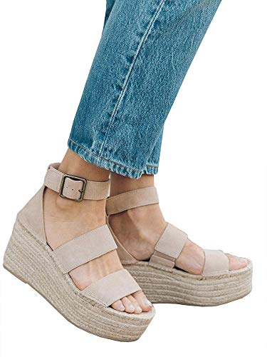 (Syktkmx Womens Platform Strappy Sandals Low Wedge Heeled Ankle Strap Summer)