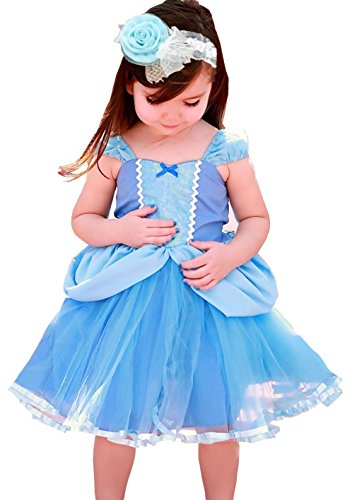 Cinderella Costumes Baby (Cohaco Girl's Princess Baby Cinderella Style Costume Party Dress with Hair Band (3T - 4T))