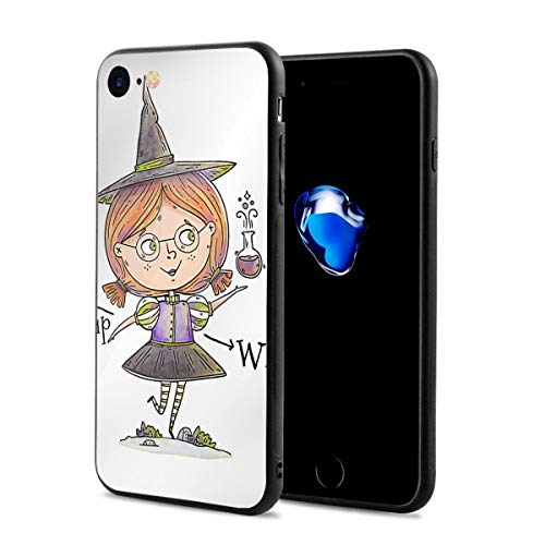 JHXZML Cute Little Witch Character with Poison for Halloween iPhone 7/8/8S Case,Imported PC Materials Full Protective Anti-Scratch Resistant Cover Case for Apple IPhone7/8/8S ()