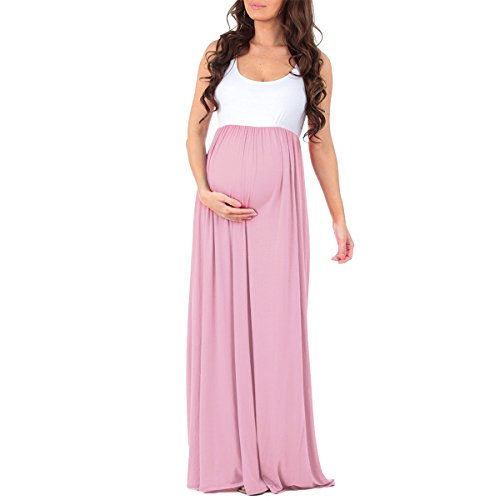 FYMNSI Women Maternity Photography Ruched Color Block Tank Dress Sleeveless Baby Shower Long Maxi Pregnant Gown Pink (Ruched Dress Color)