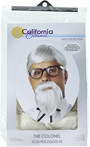 Colonel Costumes Halloween Sander (California Costumes The Colonel Wig And Moustache, White, One Size)