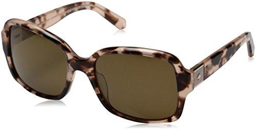 Kate Spade Women's Annora/ps Rectangular Sunglasses, Pink Havana/Brown Polarized, 54 mm