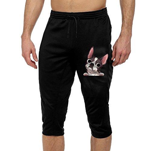 Men's Boston Terrier Joggers Cropped Trousers Elastic Waist Sports Pants Sweatpants