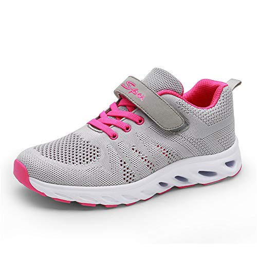 Zapatos de Mujer cómodos Zapatos Deportivos Transpirables Net/Zapatos Casuales Inferiores Suaves/Velcro Plano Zapatos para Caminar de Edad Avanzada Segundo