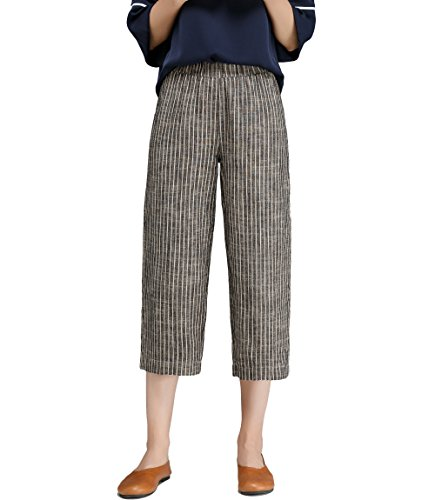 Womens Linen Stripe Wide Leg Cropped Pants with Elastic (Easy Linen Cropped Pants)