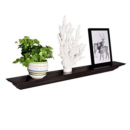 Molding Floating Wall Photo Ledge Shelves Fireplace Mantel Shelf (48-Inch, Espresso) ()