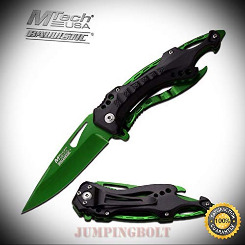 Spring Assisted Ballistic EDC Folding Pocket Sharp Knife MT-A705GN - Premium Quality Hunting Very Sharp EMT EDC - Point Blank Ballistics