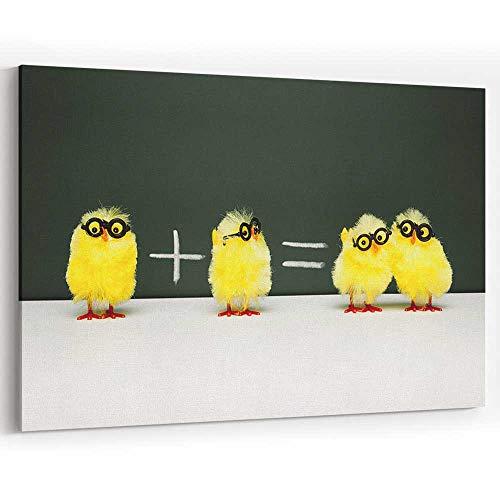 Math Lesson Nerd Chick Chicken Humor Fun Mathematics Easter Canvas Prints Wall Art for Home Decor