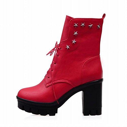 Étoiles Élégantes De Latasa Clouté Bloc Haut-talon Plate-forme Courte Robe Bottes Rouge