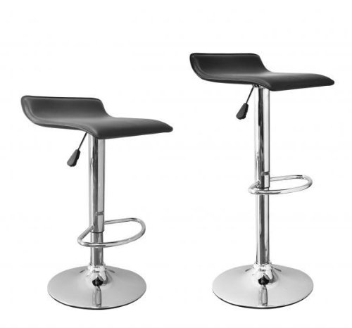New Modern Adjustable Synthetic Leather Swivel Bar Stools Chairs B08 - Sets of 2 Bamboo Swivel Bar Stool