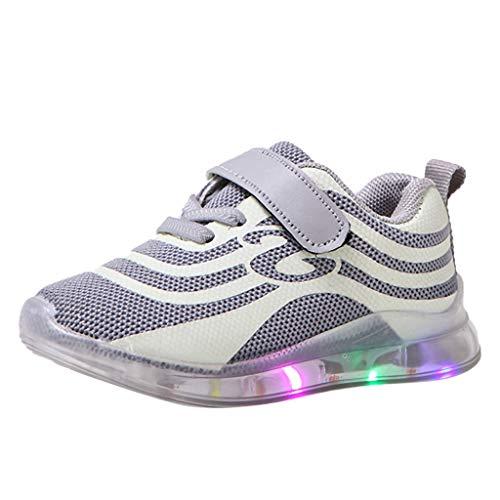 (CCFAMILY ChildrenKid Baby Girls Boys Mesh Led Luminous Sport Run Sneakers Casual Shoes Grey)