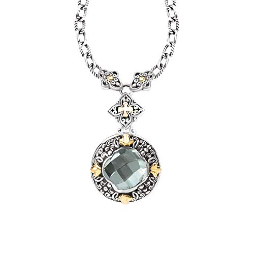925 Silver & Green Amethyst Scroll Necklace with 18k Gold Accents- 18-20 IN ()