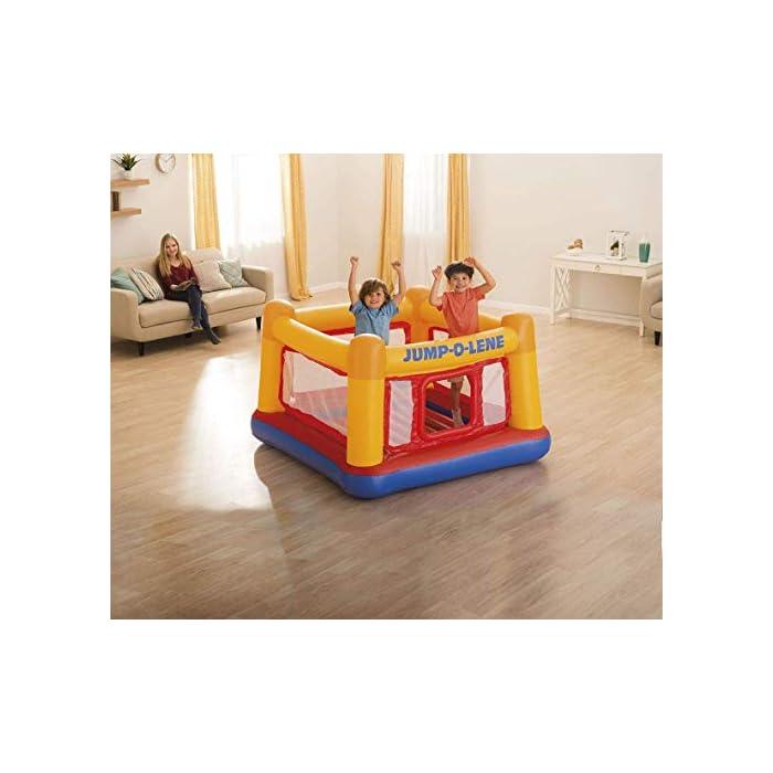 41j8urbHsbL Adecuado para 2 niños y peso máximo 54 kg Castillo con suelo hinchable reforzado, lo que proporciona un rebote seguro Paredes hinchables altas que rodean toda la base del castillo
