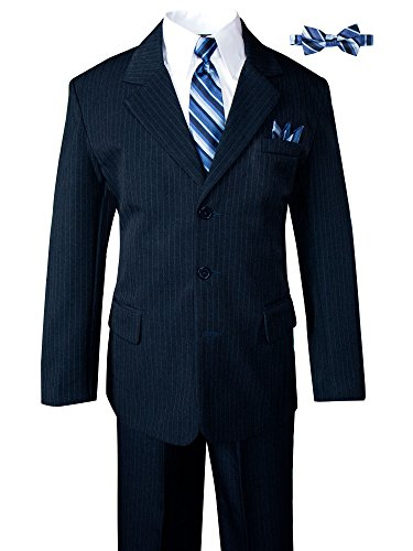 Boys' Pinstripe 6-Piece Suit with Matching Tie and Bow Tie Navy 18