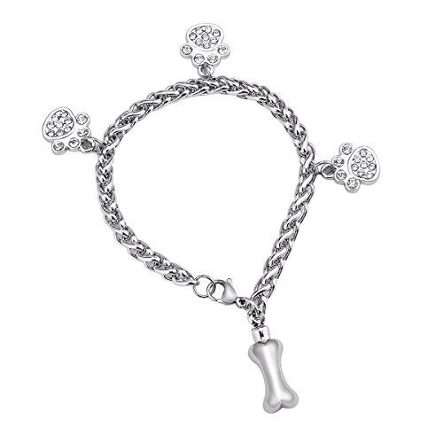 (Puppy Bone Memorial Urn Bracelet Stainless Steel Dog Palm Cremation Urn Bracelet Cremation Jewelry)