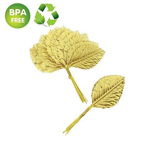 Silk Leaf Green Artificial Leaves Flower DIY HOME Decorative Christmas Party decoration Bouquet Wreaths Wedding Decor 120pcs (Gold Cymbidium)