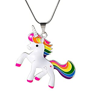 Unicorn Necklace,Beautiful Rainbow Unicorn Pendant Necklace for Women Girls