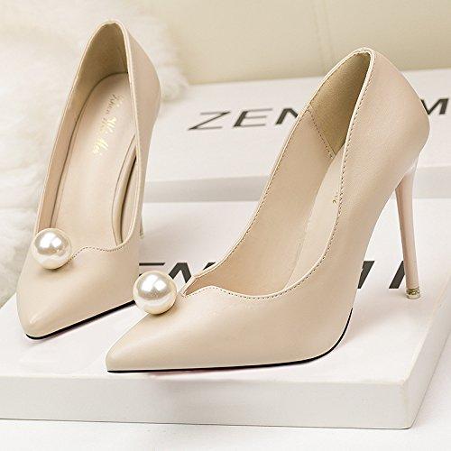alto coreana boca de tacón con simple y fina apricot Perla mujer zapatos mujer Punta dulce Zapatos de de superficial moda OAwpR