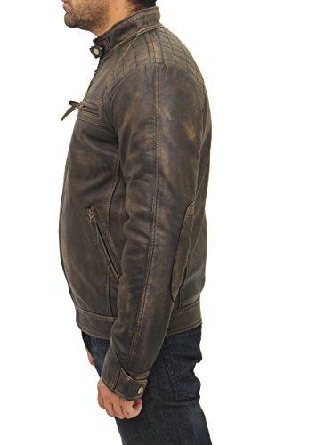 Retro Che Elegante Mens marrone Cuoio Rivestimento Zip Con Trapuntato Di Nero Dotato Corre Motociclista Vintage vqqY4nB