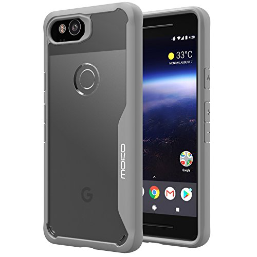 Cheap MoKo Pixel 2 Case, Clear Slim Fit Lightweight Shockproof Armor Shield, Flexible TPU Bumper Edge + Rigid PC Back Panel Cover for Google Pixel 2 – Grey