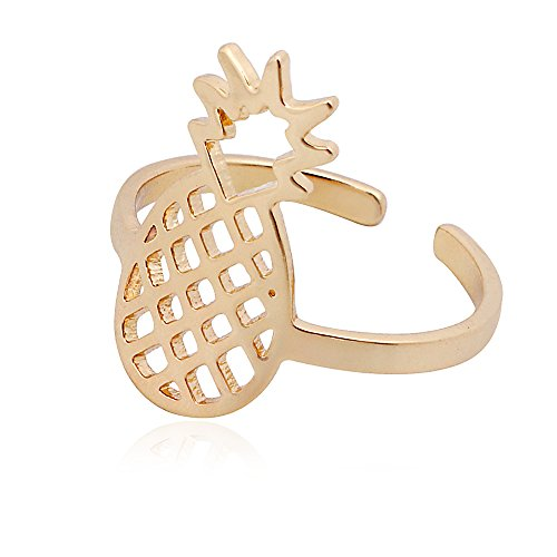 SENFAI Pineapple Charm Open Finger Rings Adjustable Cute Party Necessary Women Jewelry (Gold)