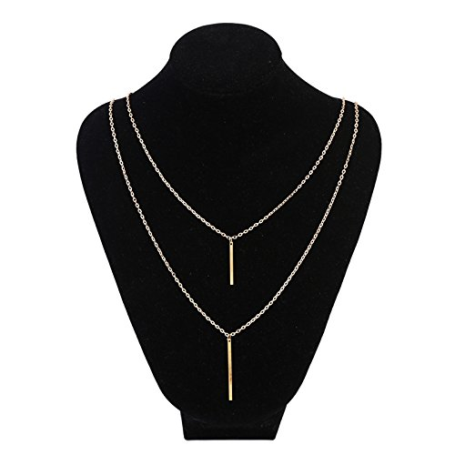 Casual Necklace (Leiothrix Simple Alloy Double-deck Stick Long Necklace for Women and Girls Apply to Weeding Party Casual)