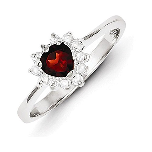 (Jewelry Adviser Rings Sterling Silver Rhodium-plated Garnet & CZ Heart Ring Size 8)