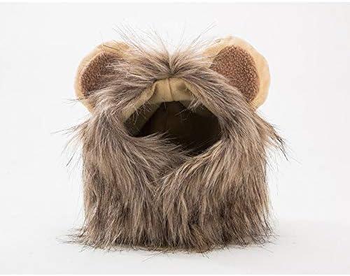 Disfraz de Perro de Halloween, Melena de león Peluca cómodo Gato león del Traje de Halloween del Pelo de Perro imitación Sombrero de la Peluca Perro de Peluche Diseño Lindo de Velcro,S: