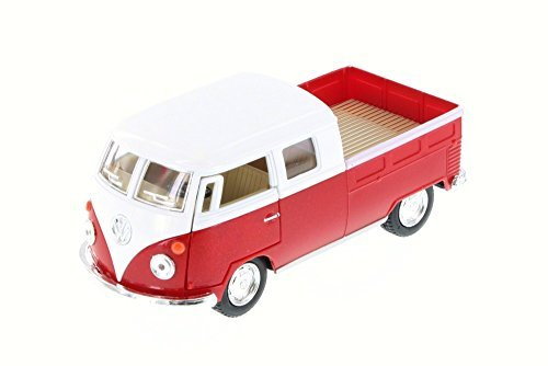 1963 Vw Bus (1963 Volkswagen Classical Bus Double Cab Pick Up, Red - Kinsmart 5387D - 1/34 Scale Diecast Model Toy Car)