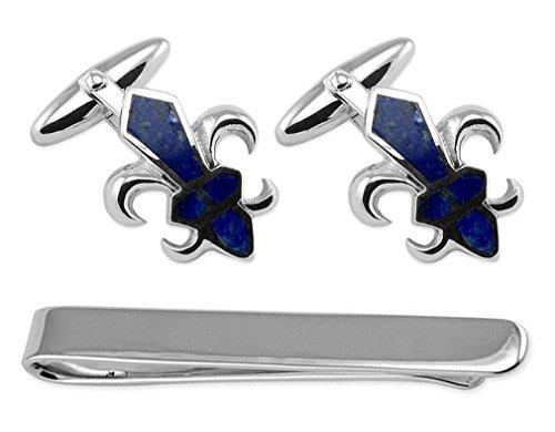 - Sterling Silver Fleur De Lys Lapis Cufflinks Tie Clip Box Set