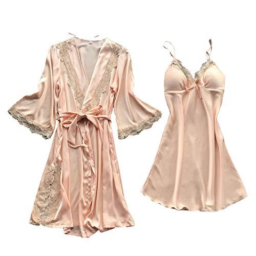 POQOQ Sleepwear Lingerie Women Sexy Lace Temptation Belt Underwear Nightdress XS Beige