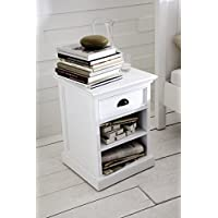 NovaSolo Halifax Pure White Mahogany Wood Bedside/Side Table/Night Stand/End Table With 2 Shelves And Drawer