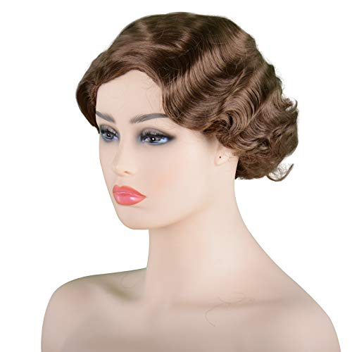 Wave Blonde Wig Bob Short Curly Flapper Adult Women's Cosplay Vintage Hairpiece Party Costume Hair 13