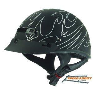 ZOX alto oscuro llama mitad casco de moto, Dark Flame