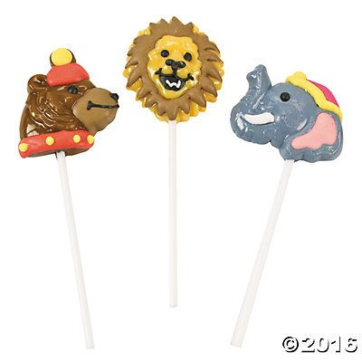Circus Animal Suckers Lollipops - 12 ct