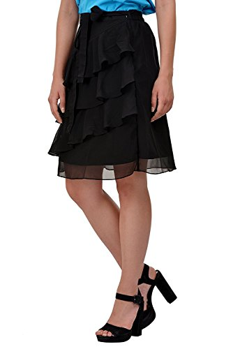 pour lastique Taille Casual Femmes S 5Xl Noir Volants Georgette Jupe Jupe Midi Wear 5HZzH